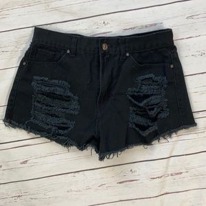 Forever 21 Black Distressed Cut Off Shorts
